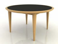 Round Table with a laminate insert top and a wood edge