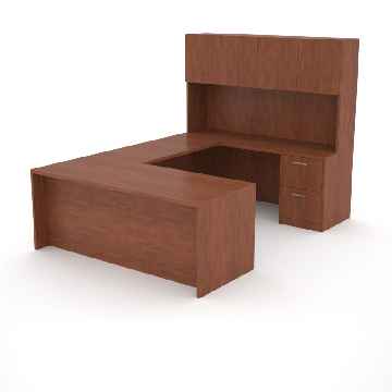 office desk with return, storage credenza