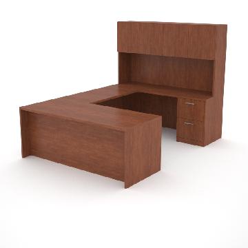 office desk with return, storage credenza