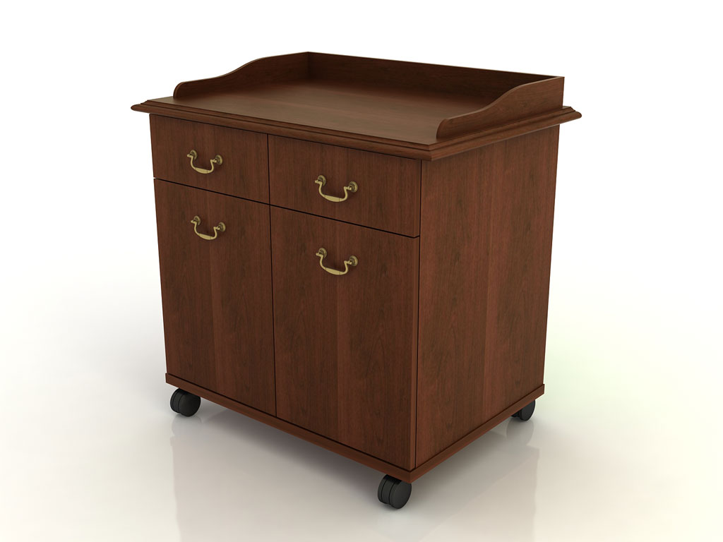 Two Door Mobile Storage Cart with Gallery Rail