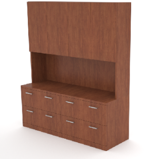 4 lateral file credenza with 55″h hutch